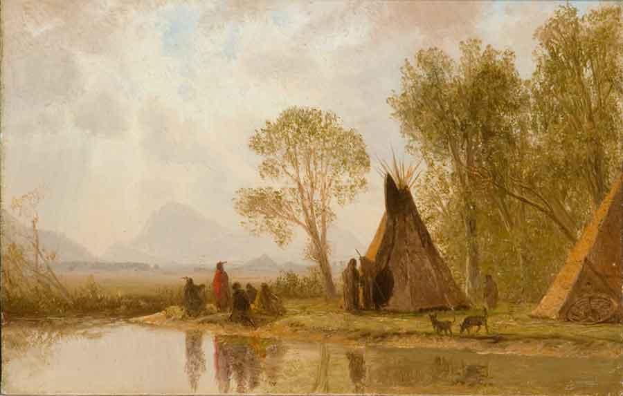 Oil sketches at CFAM, Albert Bierstadt, Shoshone Indians Rocky Mountains