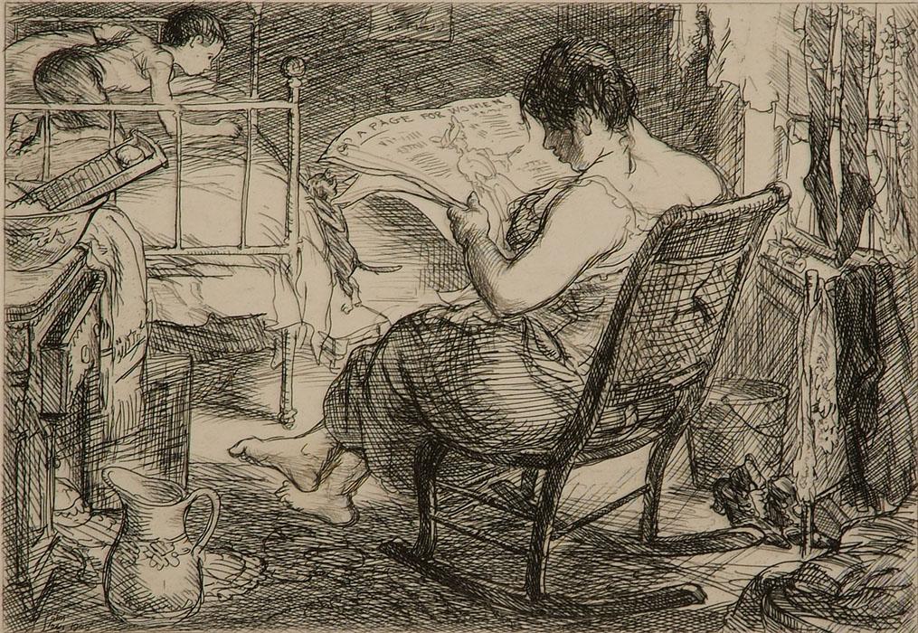 John Sloan, (American, 1871-1951), The Womens' Page, Cornell Fine Arts Museum, Rollins College
