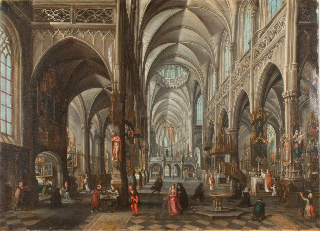 Interior of a Cathedral, Attributed to Hendrick van Steenwijck II